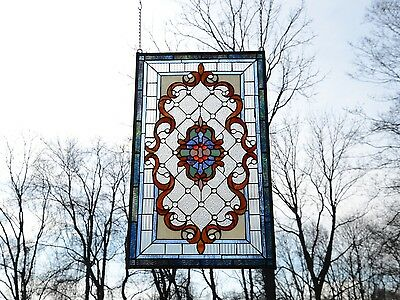 """Handcrafted Jeweled stained glass window panel. 20.5""""W x 34.75""""H"""