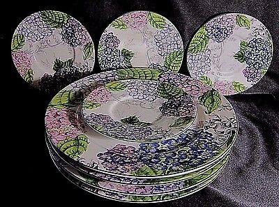AMERICAN ATELIER PLATE SET - 4 Dinner 4 Saucer/Dessert Plates - HYDRANGEA TOILE