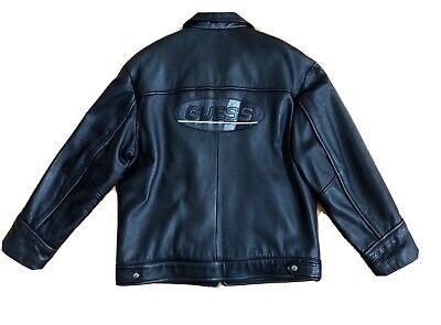 VTG Authentic Guess Men's Black Medium Genuine Leather Jacket Zip Up Large Logo