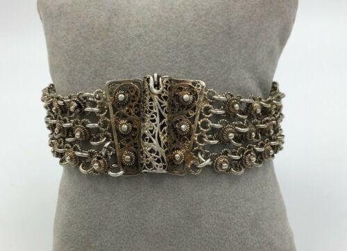 Vintage Filigree Sterling Silver etruscan style Bracelet multi link