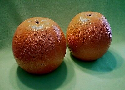 """Set of (2) GIGANTIC Italian art pottery ORANGES. 9 """" by 9  """". 7.5  pounds each."""