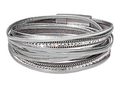 Tamaris Kelly Leather Bracelet Armband Accessoire Grey Grau Silber Neu