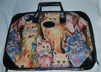 Vintage Cat Lover Briefcase Embroidered Kittens Kitty Cats Full Zip Bag 16x12