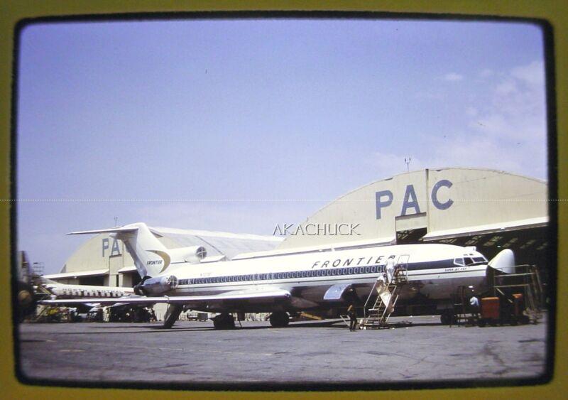 2 Vintage Slides FRONTIER AIRLINES Boeing 727 N7279F Hangar & Take-Off 1960s