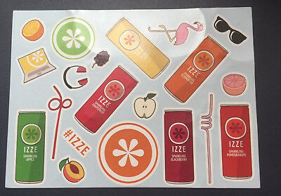 Izze Soda Stickers - One Sheet of 20 Izze Soda related soda cans and themes!