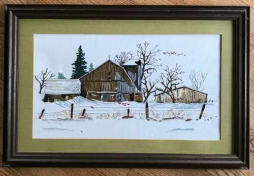 "Finished! Vintage Crewel Stitchery Winter Barn Scene Matted & Framed 27"" x 18"""