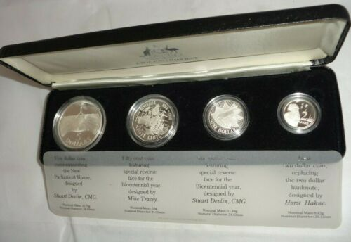 1988 ROYAL AUSTRALIAN MINT 4 piece Silver Proof Coin Set UNCIRCULATED w/ Case