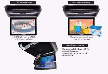"Nakamichi 10.2"" Roof Mount DVD Player USB SD iPod iPhone support"