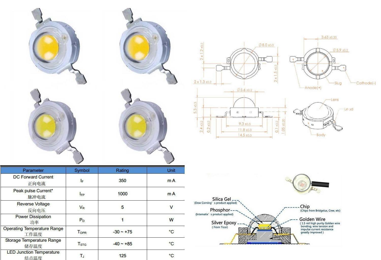 LED chip epistar 1W 350mA - confezione da 2 LED
