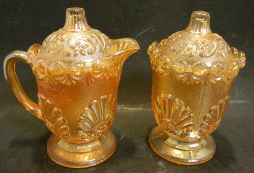 Vintage Iridescent Marigold Footed Creamer & Sugar Bowl w/ Lids Excellent Cond
