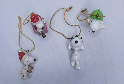 Lot of 4 Peanuts Snoopy Miniature Ornaments
