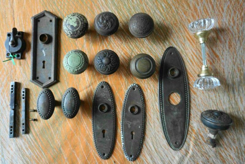 Mixed Hardware Lot - AntiqueSash Lock, Split/Swivel Spindle, Antique Door Knobs,