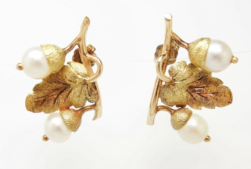 Superb Pair Antique Early 20c 14K Rose & Yellow Gold Acorn Pearl Earrings