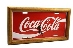 Framed Metal Coca Cola License Plate Rare Wall Clock 13 x 7 Coke by Good Tymes