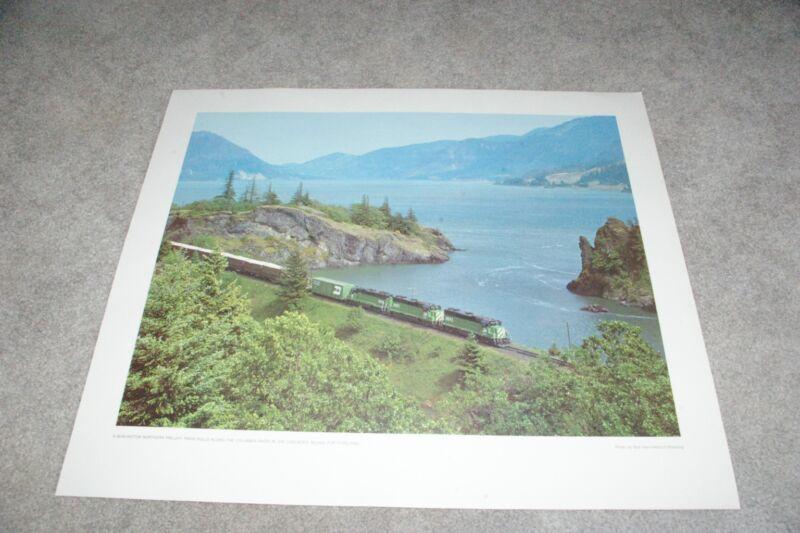 Burlington Northern Railroad Freight Train Columbia River Cascades Poster Print