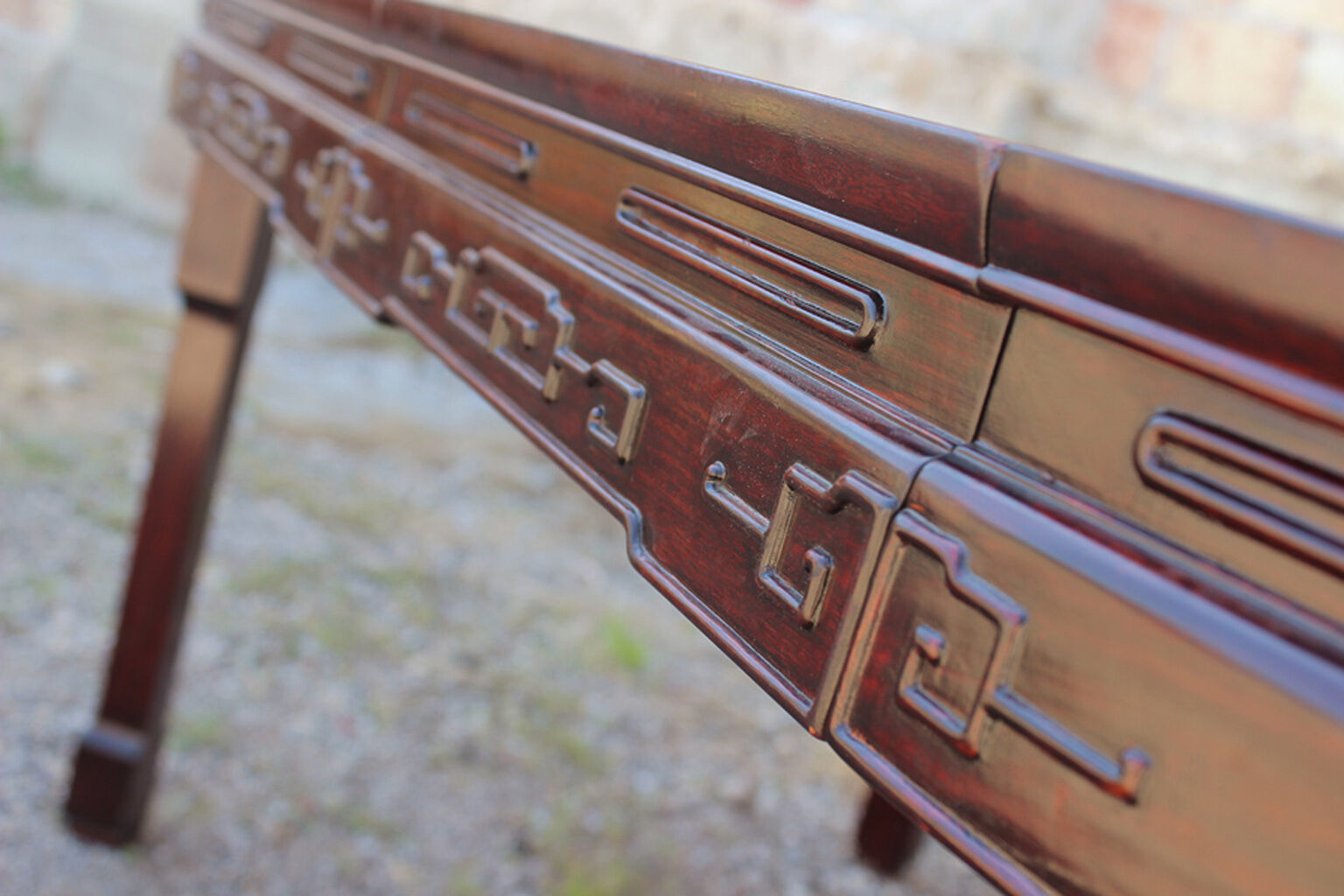 Vintage Chinese Rosewood And Mother Of Pearl Dining Table On Image To Enlarge