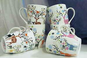 6 Fröhliche Kaffeetassen Kaffeebecher Teetasse Tasse Porzellan Rehe mit Blumen