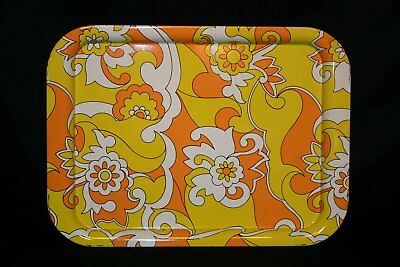 LOT 4 - Metal TV Trays Vtg 60s 70s Orange Yellow Flower Power Psychedelic - Tv Trays Big Lots