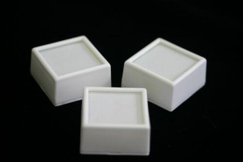 "25 Glass top Square Gem Jars Box White Gemstones Coin White/Black Foam 1 1/2"""