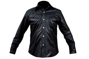 Medium Size Clearance Men's Black Leather Shirt Casual Fashion Shirts LLL-433-B