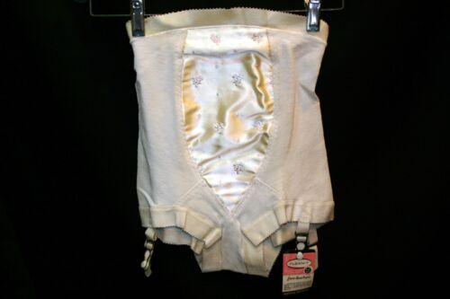 S NOS Rubber Beige Embroidered Panty Girdle Vtg 50s 4583 FLEXNIT 4 Metal Garters
