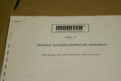 Monitek Model 31 Monitoringtransmitting Nephelometer Operating Maint. Manual