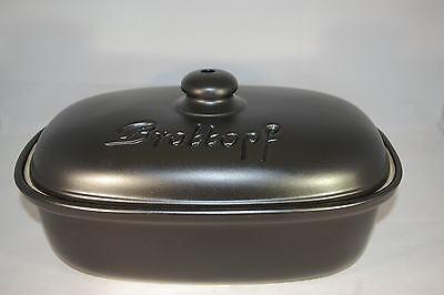Brottopf 30 cm schwarz matt Oval , Steinzeug Westerwald
