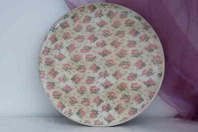 Großes Tablett Aus Holz (Großes rundes Tablett Serviertablett aus Holz mit Rosen Ablage Handarbeit 30cm)