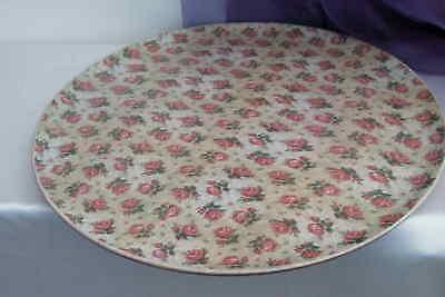 Großes Tablett Aus Holz (Großes rundes Tablett Serviertablett aus Holz mit Rosen Ablage Handarbeit 38cm)