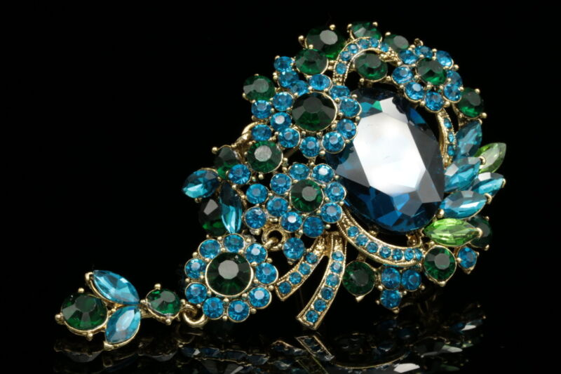 pendant teal blue crystal Bouquet brooch pin Birthday gift wedding dress H09