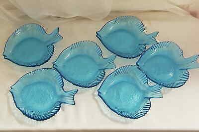 6 Fischschalen blau Glasteller Dekoteller Schalen Fisch Glas Sushischalen Sushi Glas
