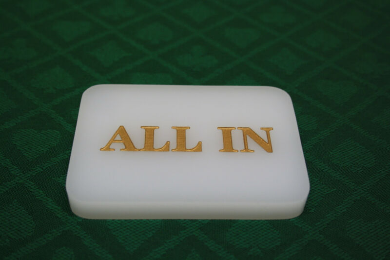 5pcs Acrylic All In Button Casino Quality Plaque Dealer Button Large white