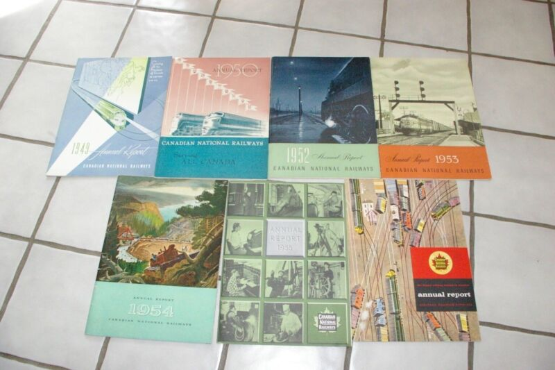 7 Canadian National Railways Annual Reports 1949-50, 1952-1956