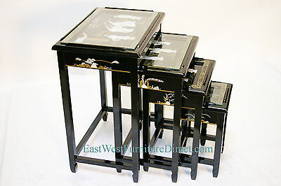 Купить oriental black lacquer nest tables Chinese furniture