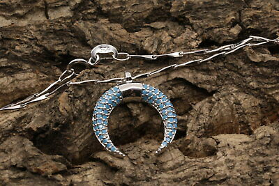 blue horn micro pave cubic zircon pendant 925 sterling silver chain necklace A14