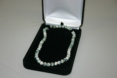 Black Velvet Necklace Chain Beads Pearls Jewelry Gift Box Case with White Box