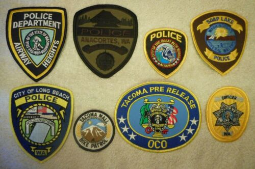 8 different Washington police patches - Lot 1