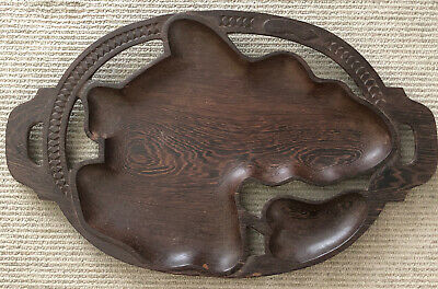 Antique Carved Wood Handled Serving Tray Africa Large 23 1/2