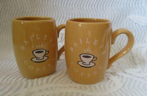 Lot of 2 ~ VINTAGE BAILEYS IRISH CREAM UNUSUAL BUTTERSCOTCH COLOR COFFEE MUG CUP