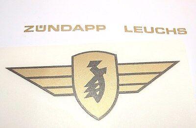 Zündapp Flügel Aufkleber Gold / Schwarz 2,5 x 6cm