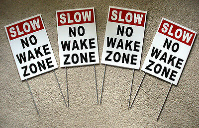4 Slow No Wake Zone 8 X12 Plastic Coroplast Signs With Stakes White