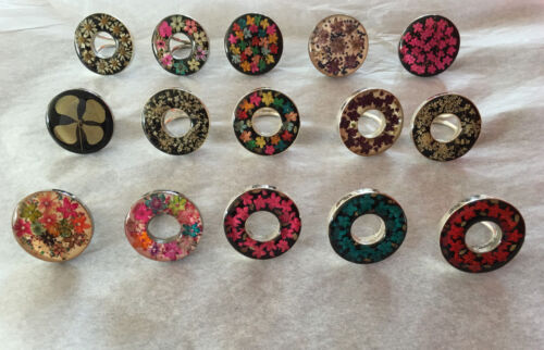 German Silver (Alpacca) Scarf Rings with Acrylic Embedded Wildflowers