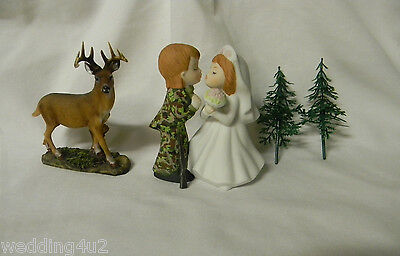 Wedding Party Reception ~Kissing Cake Topper~ Camo Deer Hunter Hunting 7 Piece