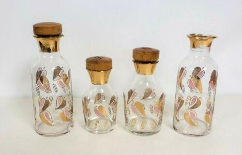Glass Cruet Shaker Condiment Set pink gold leaf pattern 4 piece Mid Century