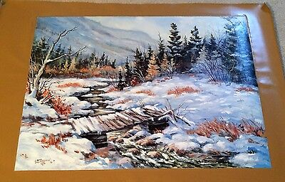 AUTHENTIC ARTAGRAPH OIL PAINTING WINTER CROSSING BY L.SHERMAN SIGNED 84/1000 - $30.00