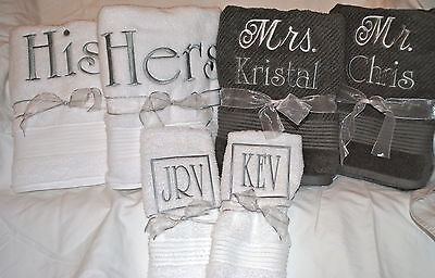 Personalized/customized Wedding Gift Or Everyday Set Of 2 100% Cotton Towels