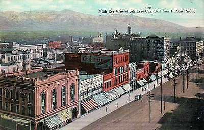 Aerial View of Salt Lake City, Utah, 1st Street, Cremo Cigar Ad etc. -- Postcard