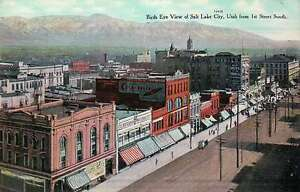 Aerial View of Salt Lake City, Utah, 1st Street, Cremo Cigar Ad etc. -- Postcard
