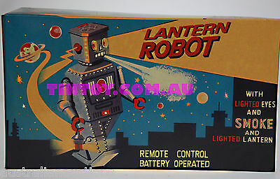 LANTERN ROBOT TIN TOY REMOTE CONTROL BATTERY OPERATED SMOKES POWDER  RARE