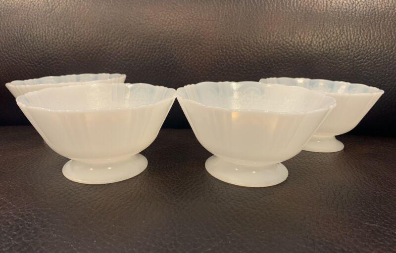 4 MacBeth Evans American Sweetheart Monax Opalescent Footed Sherbet Dessert Bowl